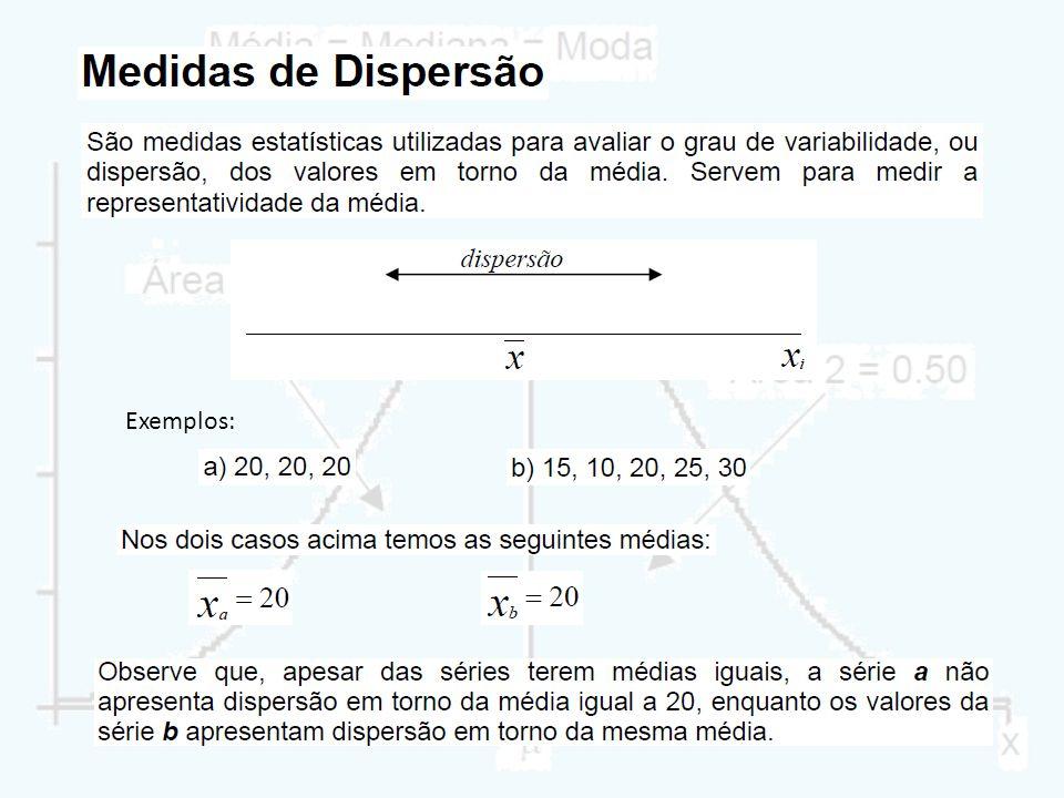 Exemplo 2: Calcule a amplitude das séries: Amplitude total É uma medida de dispersão dada pela diferença entre o maior e o menor valor da série.