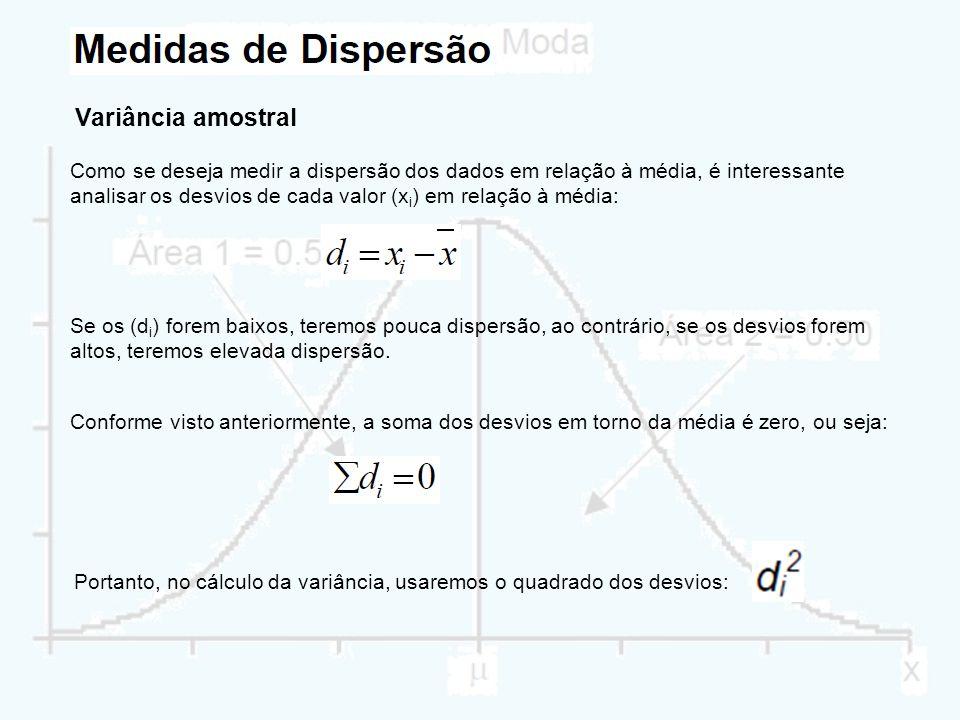 Variância amostral Como se deseja medir a dispersão dos dados em relação à média, é interessante analisar os desvios de cada valor (x i ) em relação à
