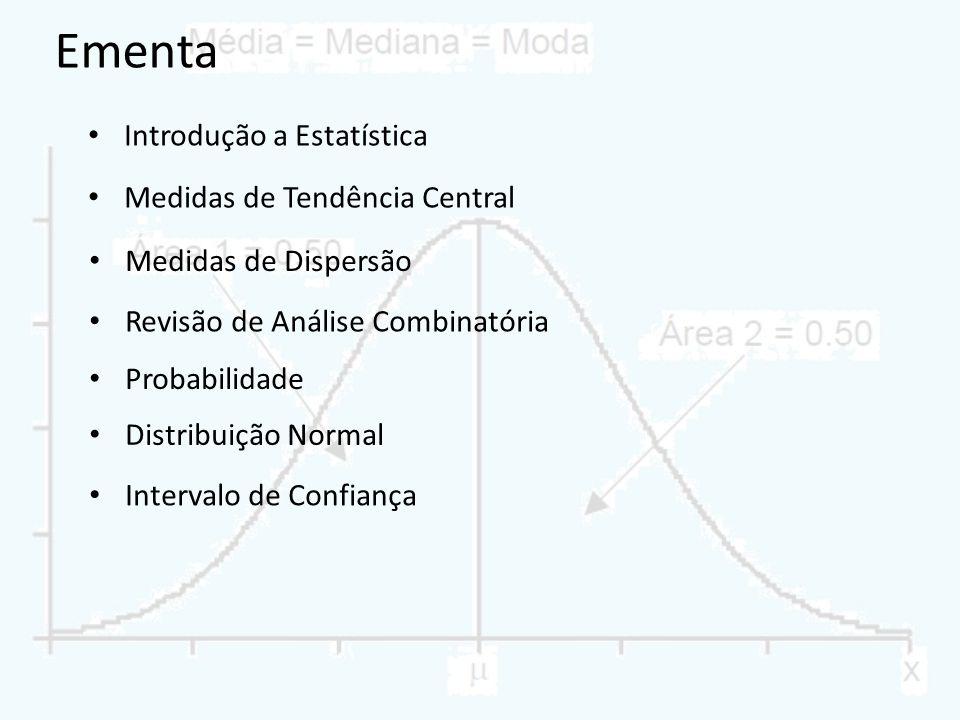 Ementa Introdução a Estatística Medidas de Tendência Central Medidas de Dispersão Revisão de Análise Combinatória Probabilidade Distribuição Normal In
