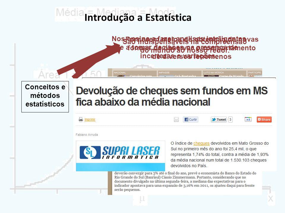 Introdução a Estatística Conceitos e métodos estatísticos São indispensáveis na compreensão do mundo ao nosso redor. Fornecem meios de obtenção de nov