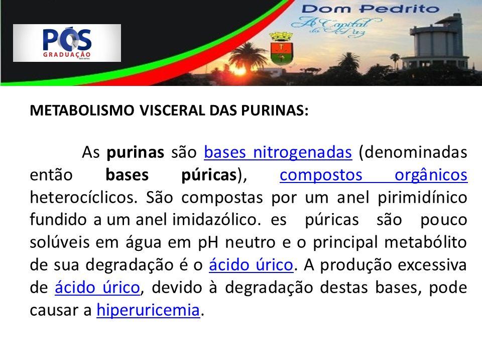 METABOLISMO VISCERAL DAS PURINAS: As purinas são bases nitrogenadas (denominadas então bases púricas), compostos orgânicos heterocíclicos. São compost