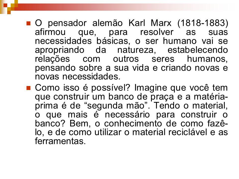 Temos, portanto: (1) um SER HUMANO; (2) o CONHECIMENTO; (3) a natureza que já foi modificada, a MATÉRIA- PRIMA; (4) e os INSTRUMENTOS – máquinas, ferramentas e utensílios.