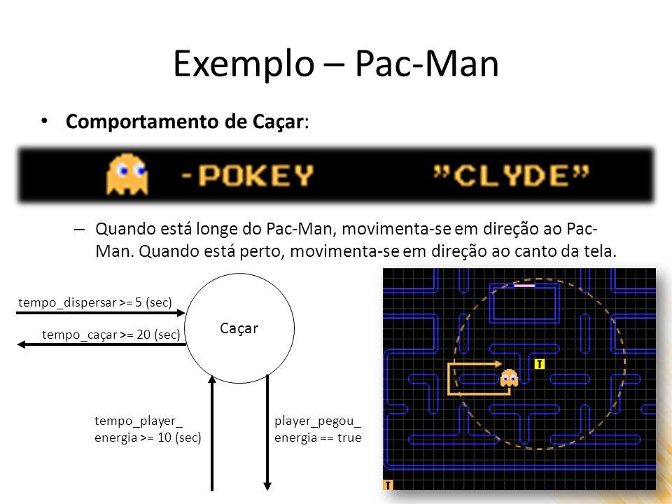 Exemplo – Pac-Man Comportamento de Caçar: – Quando está longe do Pac-Man, movimenta-se em direção ao Pac- Man. Quando está perto, movimenta-se em dire