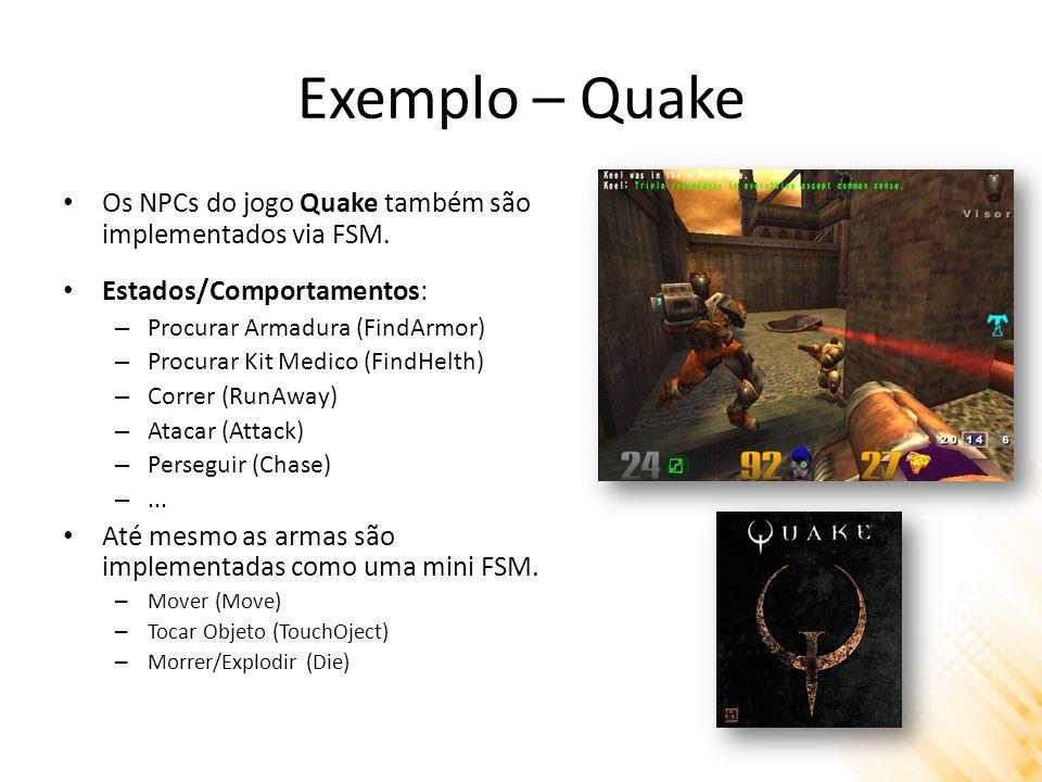 Exemplo – Quake Os NPCs do jogo Quake também são implementados via FSM. Estados/Comportamentos: – Procurar Armadura (FindArmor) – Procurar Kit Medico