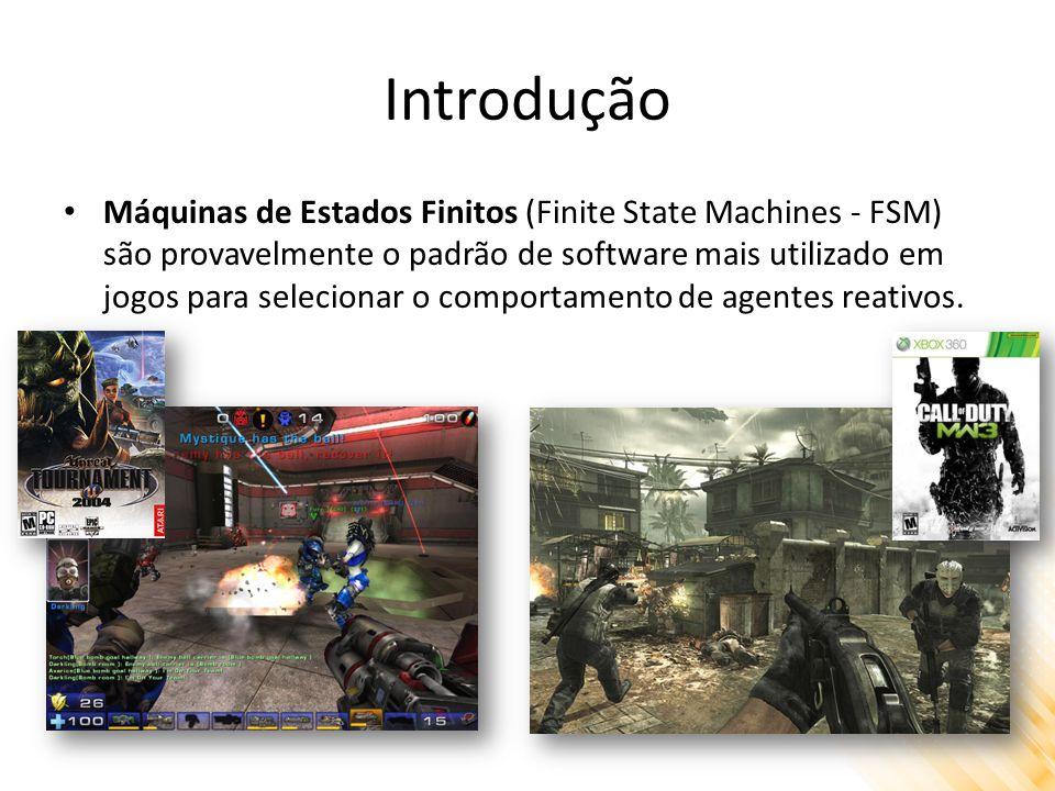 Introdução Máquinas de Estados Finitos (Finite State Machines - FSM) são provavelmente o padrão de software mais utilizado em jogos para selecionar o comportamento de agentes reativos.