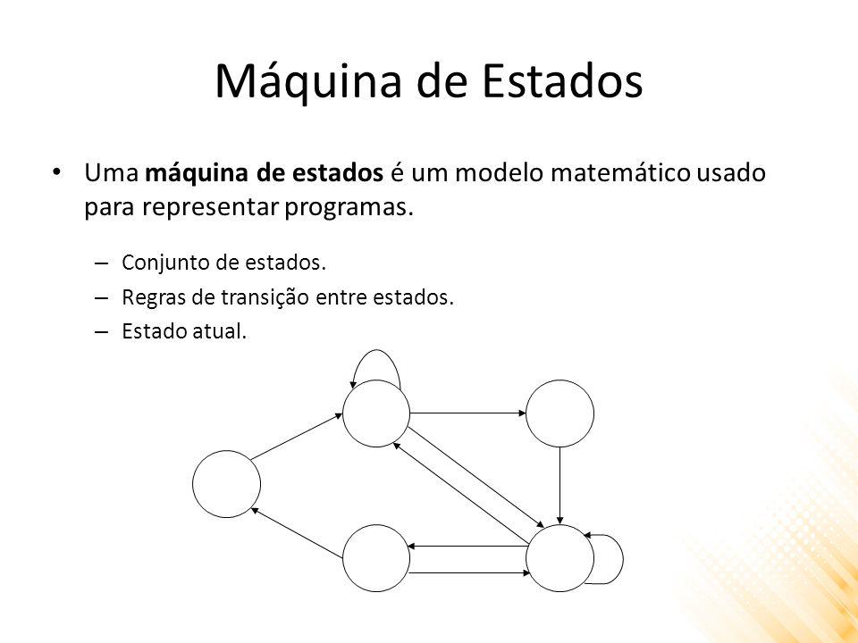 Máquina de Estados Uma máquina de estados é um modelo matemático usado para representar programas. – Conjunto de estados. – Regras de transição entre