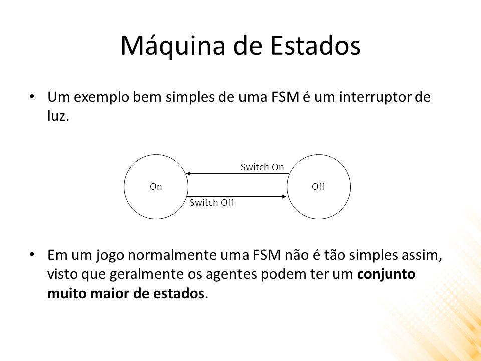 Máquina de Estados Um exemplo bem simples de uma FSM é um interruptor de luz. Em um jogo normalmente uma FSM não é tão simples assim, visto que geralm