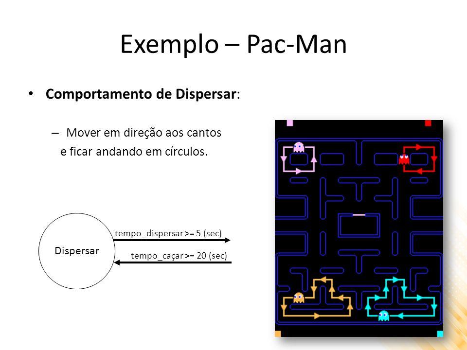 Exemplo – Pac-Man Comportamento de Dispersar: – Mover em direção aos cantos e ficar andando em círculos. Dispersar tempo_dispersar >= 5 (sec) tempo_ca