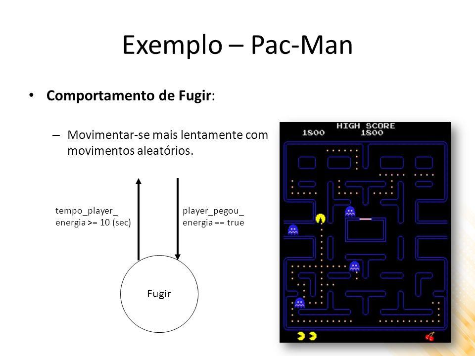 Exemplo – Pac-Man Comportamento de Fugir: – Movimentar-se mais lentamente com movimentos aleatórios. Fugir player_pegou_ energia == true tempo_player_