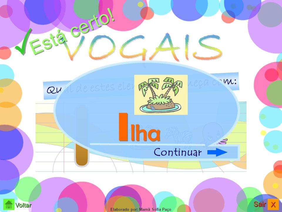 XXXX Sair Voltar Elaborado por: Mamã Sofia Paço Qual de estes elementos começa com: Observa bem.