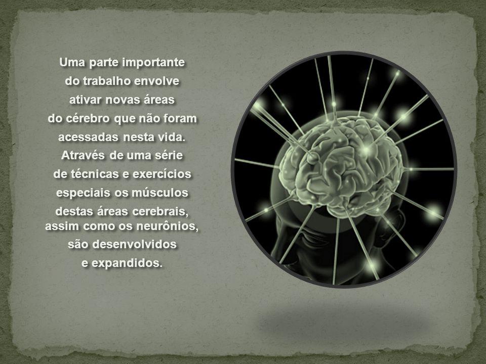 Uma parte importante do trabalho envolve ativar novas áreas do cérebro que não foram acessadas nesta vida. Através de uma série de técnicas e exercíci