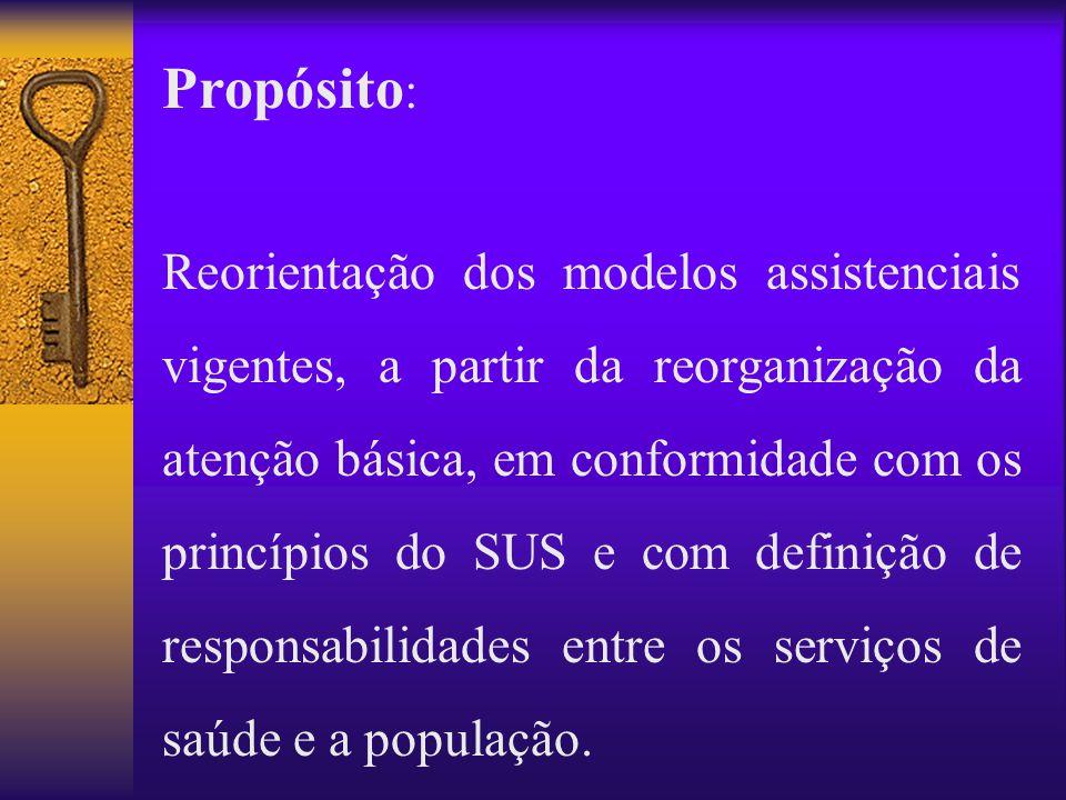 Reorientação dos modelos assistenciais vigentes, a partir da reorganização da atenção básica, em conformidade com os princípios do SUS e com definição