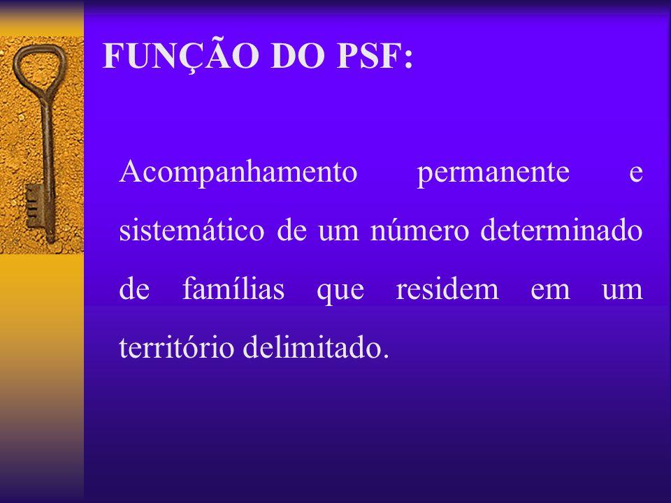 Acompanhamento permanente e sistemático de um número determinado de famílias que residem em um território delimitado. FUNÇÃO DO PSF:
