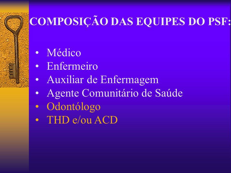 Médico Enfermeiro Auxiliar de Enfermagem Agente Comunitário de Saúde Odontólogo THD e/ou ACD COMPOSIÇÃO DAS EQUIPES DO PSF: