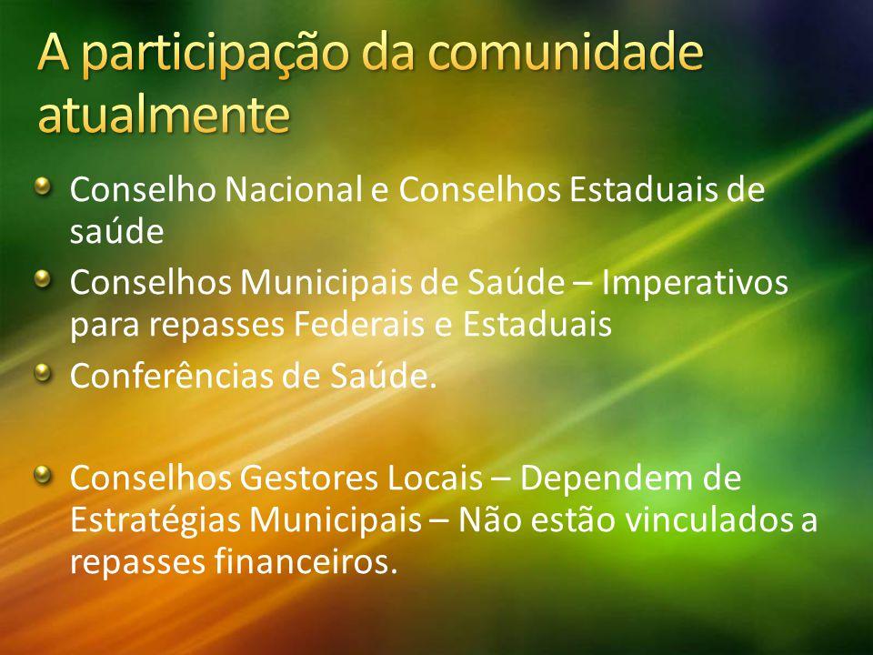 Conselho Nacional e Conselhos Estaduais de saúde Conselhos Municipais de Saúde – Imperativos para repasses Federais e Estaduais Conferências de Saúde.