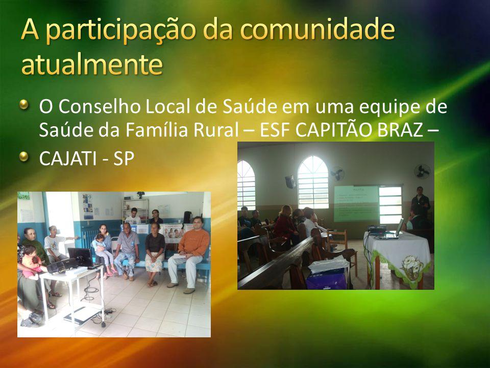 O Conselho Local de Saúde em uma equipe de Saúde da Família Rural – ESF CAPITÃO BRAZ – CAJATI - SP