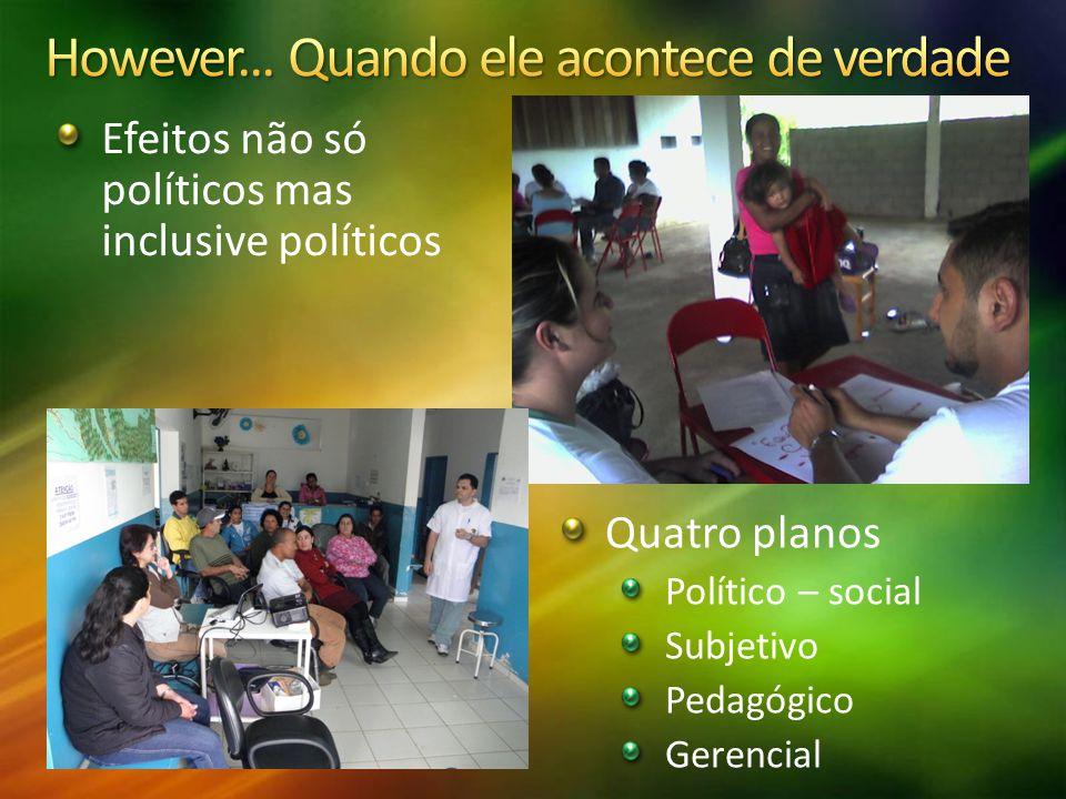 Quatro planos Político – social Subjetivo Pedagógico Gerencial Efeitos não só políticos mas inclusive políticos