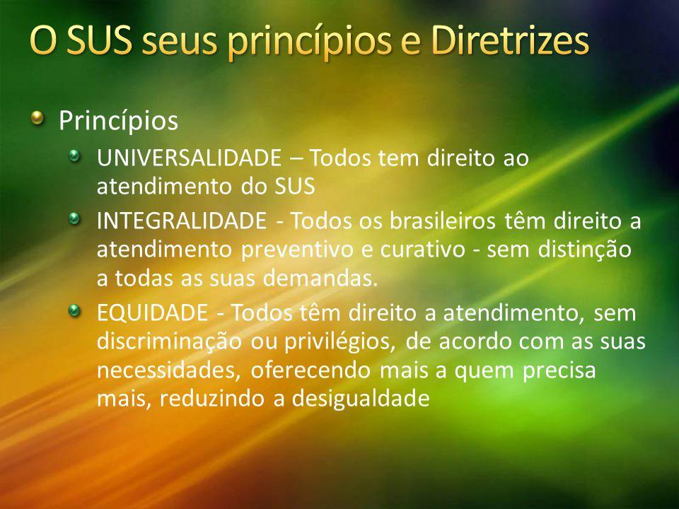 Princípios UNIVERSALIDADE – Todos tem direito ao atendimento do SUS INTEGRALIDADE - Todos os brasileiros têm direito a atendimento preventivo e curati
