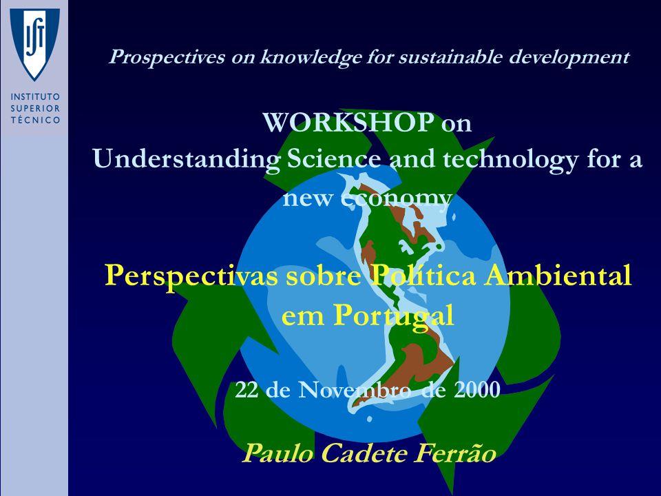 Portugal – Emissões de CO 2 0 10000 20000 30000 40000 50000 60000 70000 19901991199219931994 Ano kt CO2 EB USOP PI EF T CNE CE CE : Combustão Sector Energético; CNE : Combustão Sectores não Energético; T : Transportes; EF : Emissões Fugitivas de Combustíveis; PI : Produção Industrial; USOP : Uso Solventes e Outros Produtos; EB : Emissões de Biomassa.