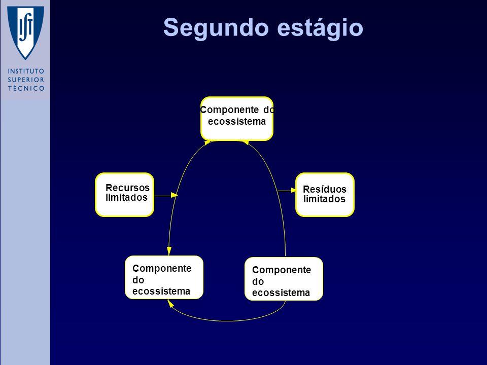 Segundo estágio Resíduos limitados Componente do ecossistema Componente do ecossistema Recursos limitados Componente do ecossistema
