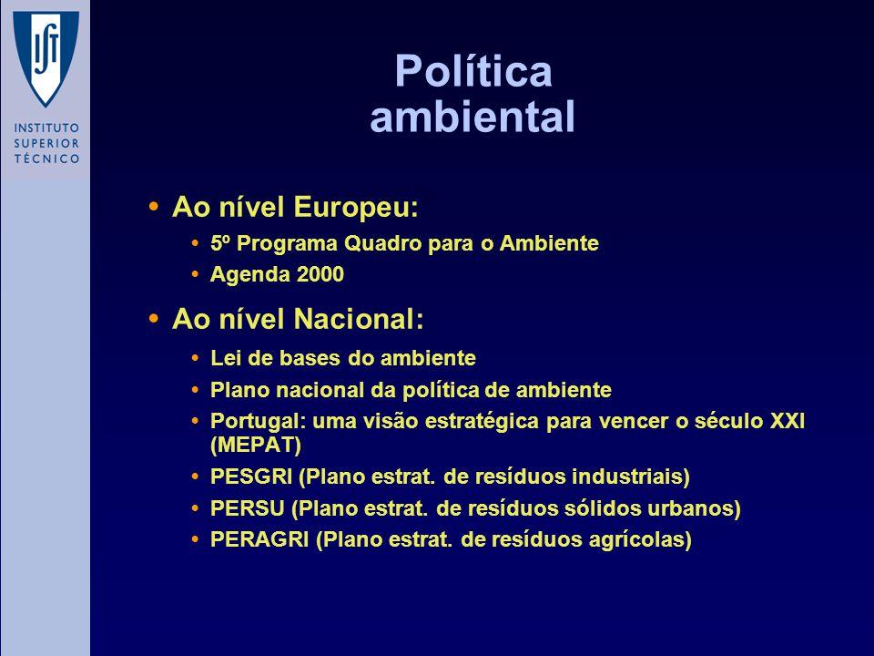 Política ambiental Ao nível Europeu: 5º Programa Quadro para o Ambiente Agenda 2000 Ao nível Nacional: Lei de bases do ambiente Plano nacional da polí