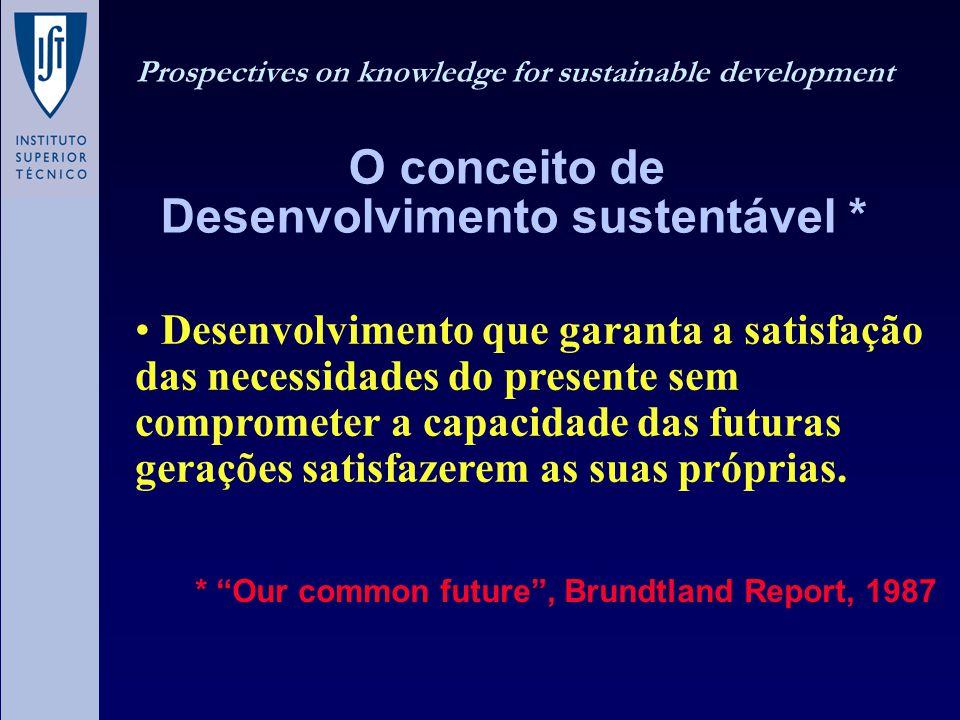Desenvolvimento que garanta a satisfação das necessidades do presente sem comprometer a capacidade das futuras gerações satisfazerem as suas próprias.