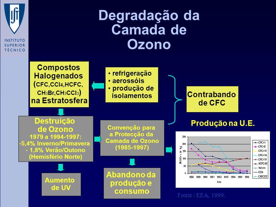 Degradação da Camada de Ozono Compostos Halogenados ( CFC,CCl 4,HCFC, CH 3 Br,CH 3 CCl 3 ) na Estratosfera Destruição de Ozono 1979 a 1994-1997: -5,4%