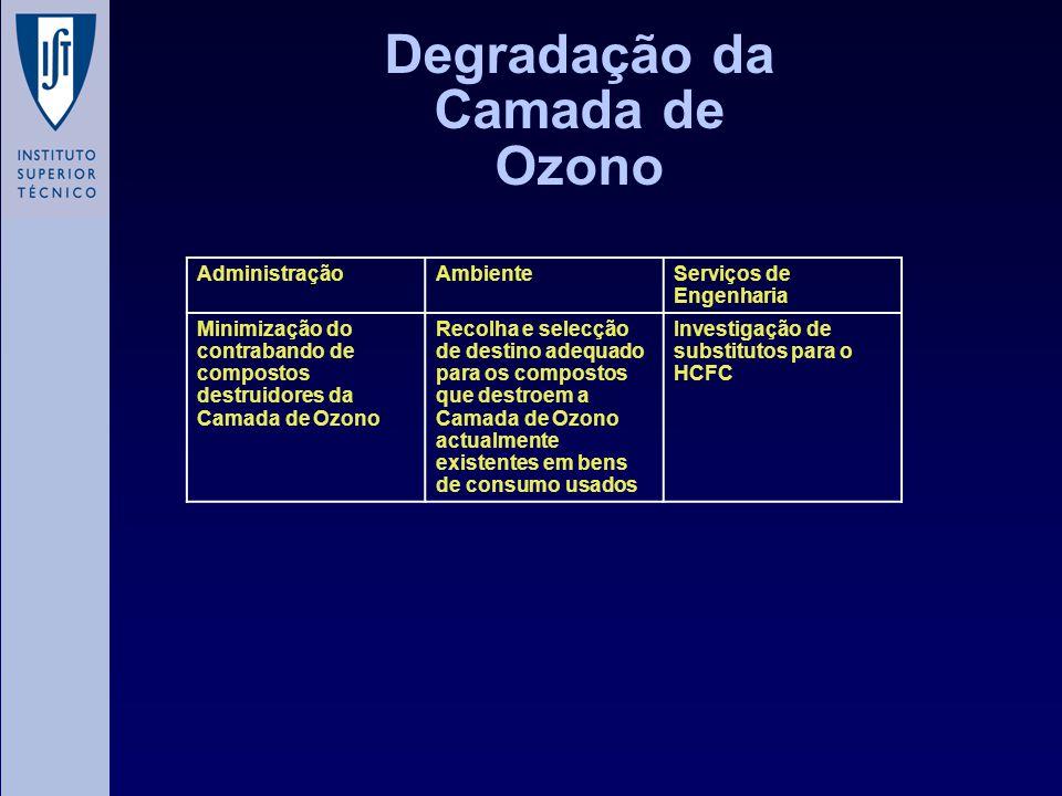 Degradação da Camada de Ozono AdministraçãoAmbienteServiços de Engenharia Minimização do contrabando de compostos destruidores da Camada de Ozono Reco