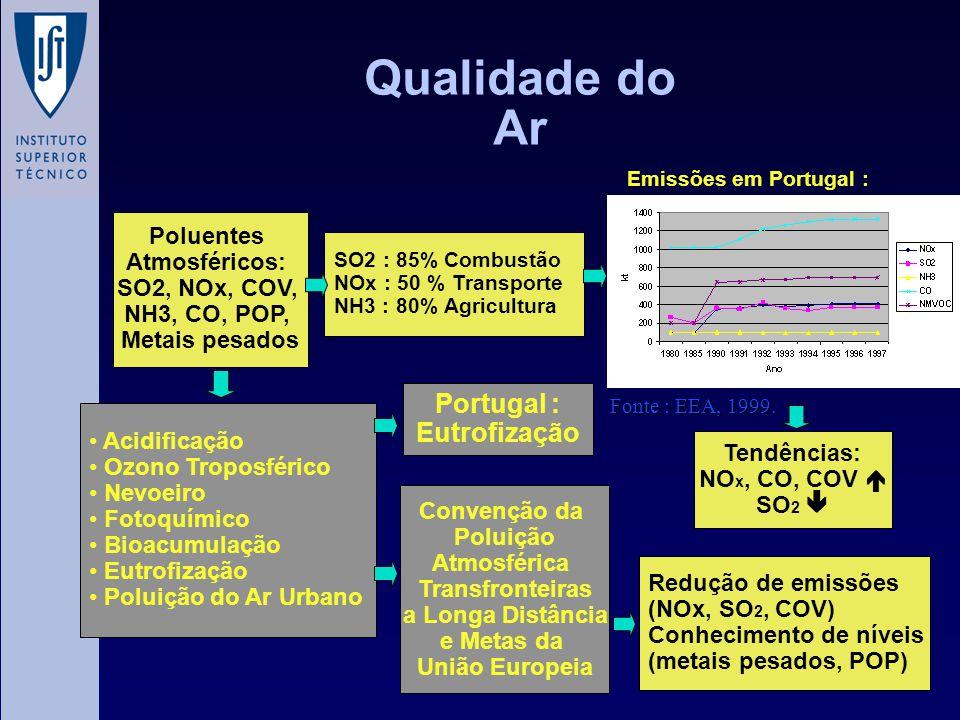 Qualidade do Ar Poluentes Atmosféricos: SO2, NOx, COV, NH3, CO, POP, Metais pesados Acidificação Ozono Troposférico Nevoeiro Fotoquímico Bioacumulação