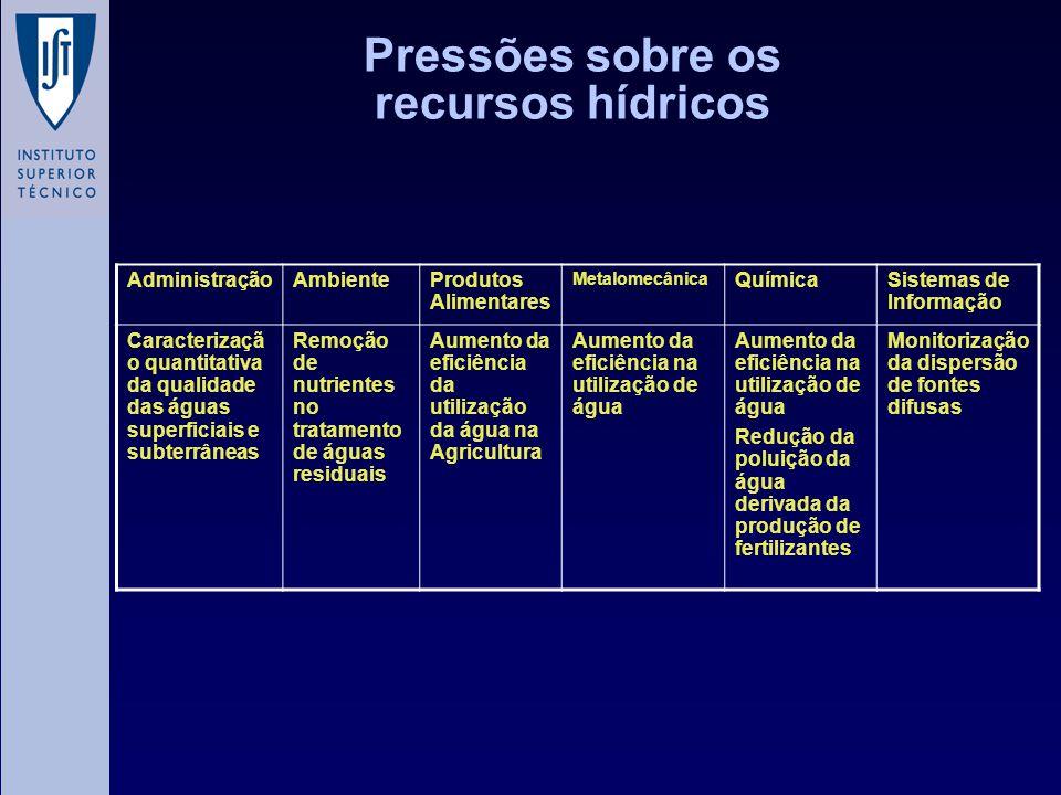 Pressões sobre os recursos hídricos AdministraçãoAmbienteProdutos Alimentares Metalomecânica QuímicaSistemas de Informação Caracterizaçã o quantitativ