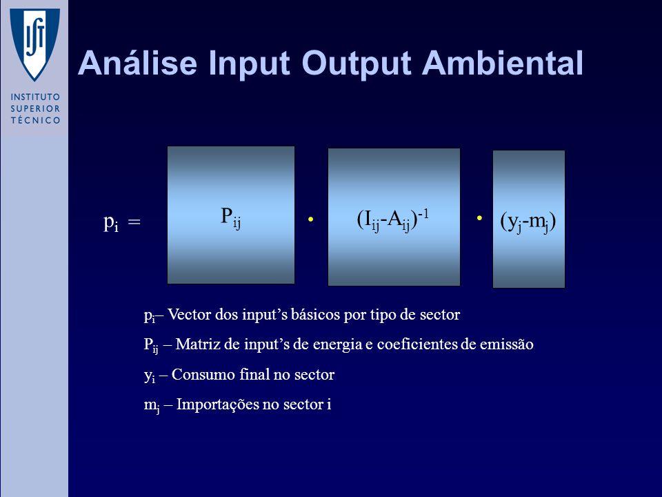 Análise Input Output Ambiental (I ij -A ij ) -1 = P ij (y j -m j ) pipi p i – Vector dos input's básicos por tipo de sector P ij – Matriz de input's d