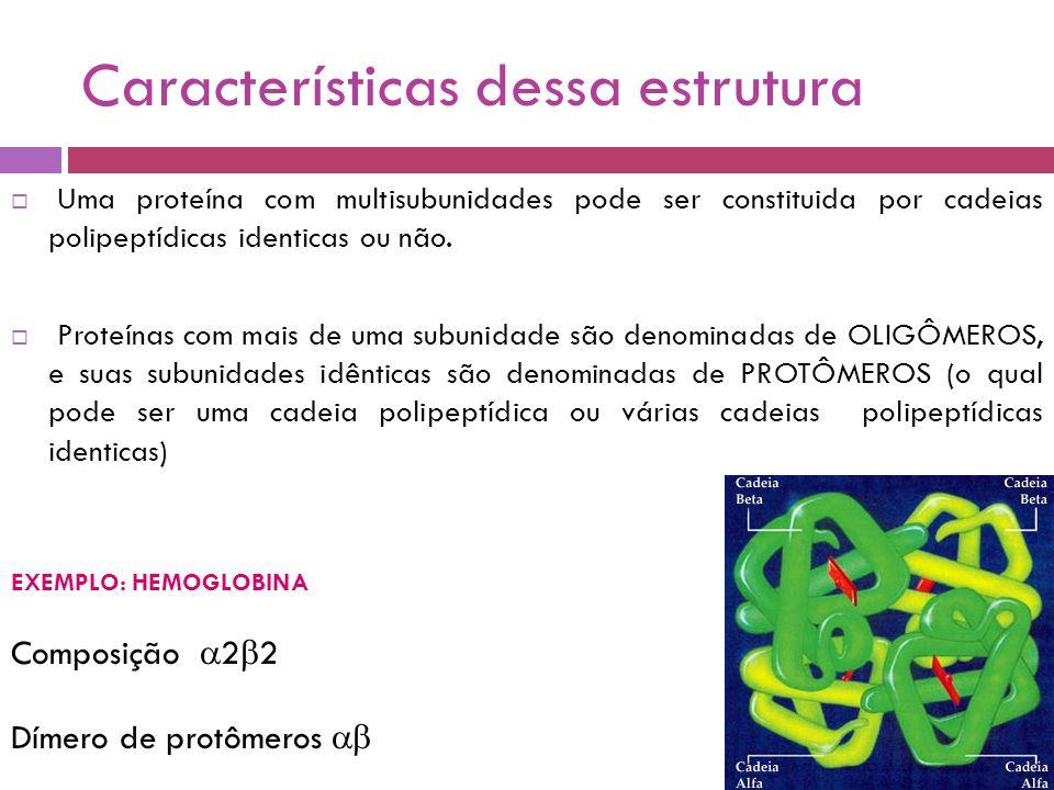 Características dessa estrutura  Uma proteína com multisubunidades pode ser constituida por cadeias polipeptídicas identicas ou não.
