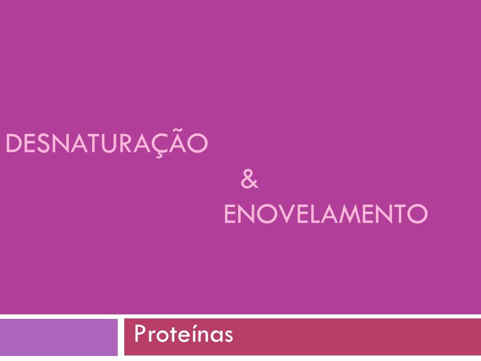 Desnaturação de proteínas  Uma proteína pode estar no estado nativo (N), em que apresenta a função para a qual foi produzida, ou no estado desnaturado (D), em que não apresenta uma função específica  Desnaturação pode ser por:  Temperatura  pH extremos  Solventes  Agentes caotrópicos (uréia, tiocianato de guanidina) aumentam a solubilidade de substancias apolares na água, rompendo interações hidrofóbicas  Agentes redutores (mercaptoetanol, ditiotreitol)