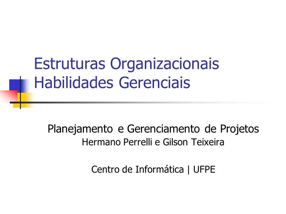 Estruturas Organizacionais Habilidades Gerenciais Planejamento e Gerenciamento de Projetos Hermano Perrelli e Gilson Teixeira Centro de Informática |