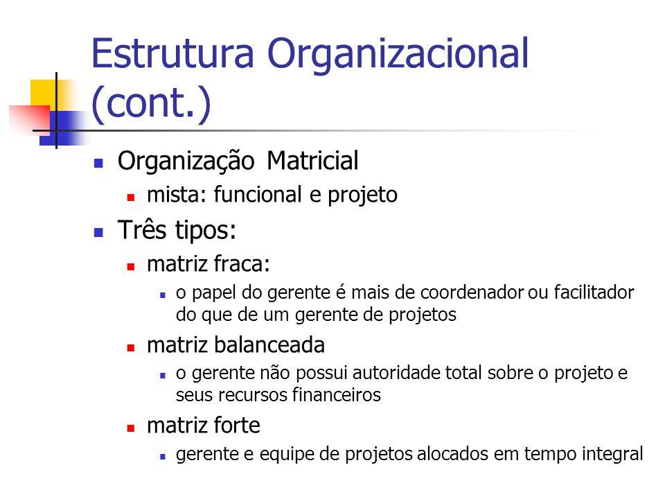 Estrutura Organizacional (cont.) Organização Matricial mista: funcional e projeto Três tipos: matriz fraca: o papel do gerente é mais de coordenador o