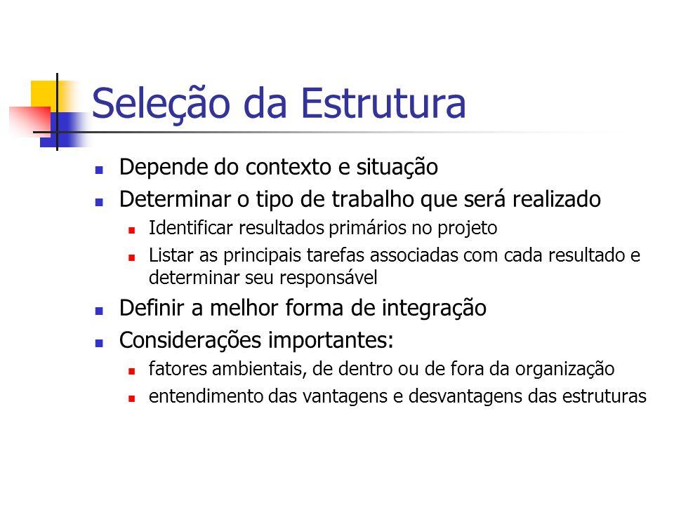 Seleção da Estrutura Depende do contexto e situação Determinar o tipo de trabalho que será realizado Identificar resultados primários no projeto Lista