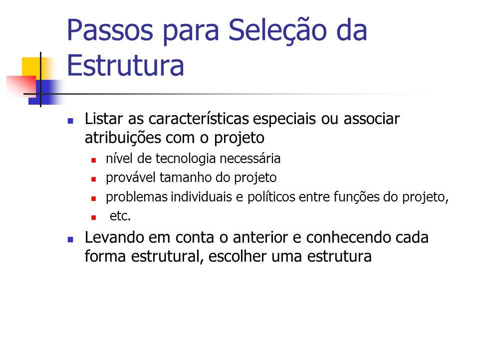 Passos para Seleção da Estrutura Listar as características especiais ou associar atribuições com o projeto nível de tecnologia necessária provável tamanho do projeto problemas individuais e políticos entre funções do projeto, etc.