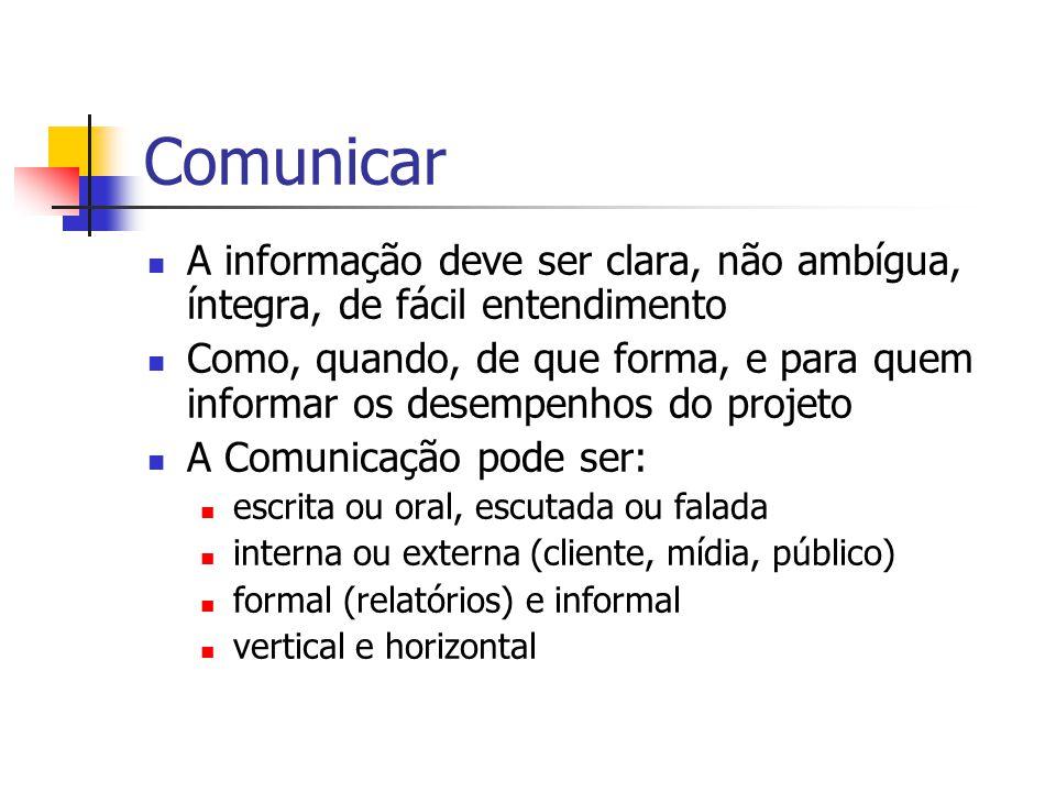 Comunicar A informação deve ser clara, não ambígua, íntegra, de fácil entendimento Como, quando, de que forma, e para quem informar os desempenhos do