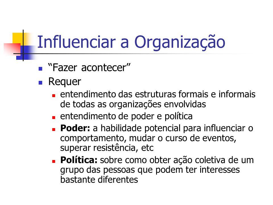 """Influenciar a Organização """"Fazer acontecer"""" Requer entendimento das estruturas formais e informais de todas as organizações envolvidas entendimento de"""
