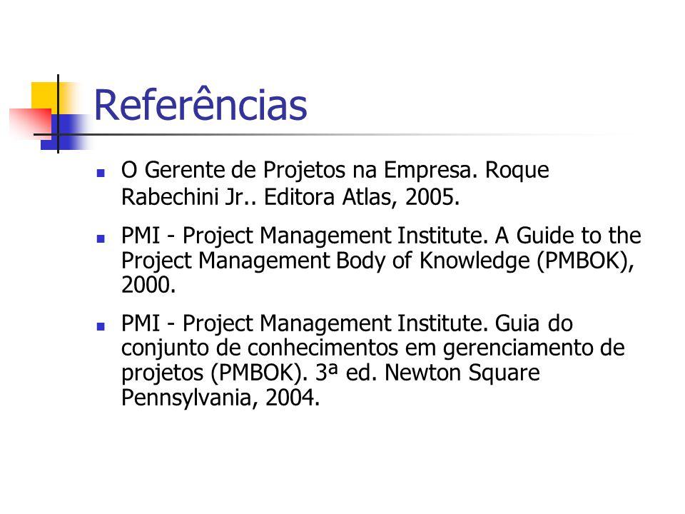 Referências O Gerente de Projetos na Empresa. Roque Rabechini Jr.. Editora Atlas, 2005. PMI - Project Management Institute. A Guide to the Project Man