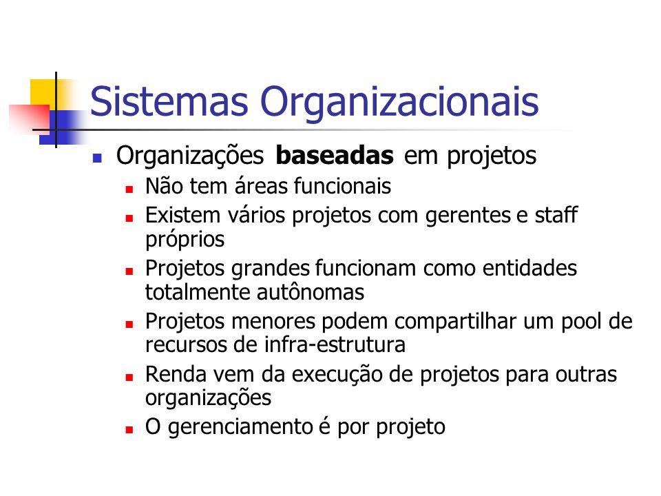 Sistemas Organizacionais Organizações baseadas em projetos Não tem áreas funcionais Existem vários projetos com gerentes e staff próprios Projetos gra