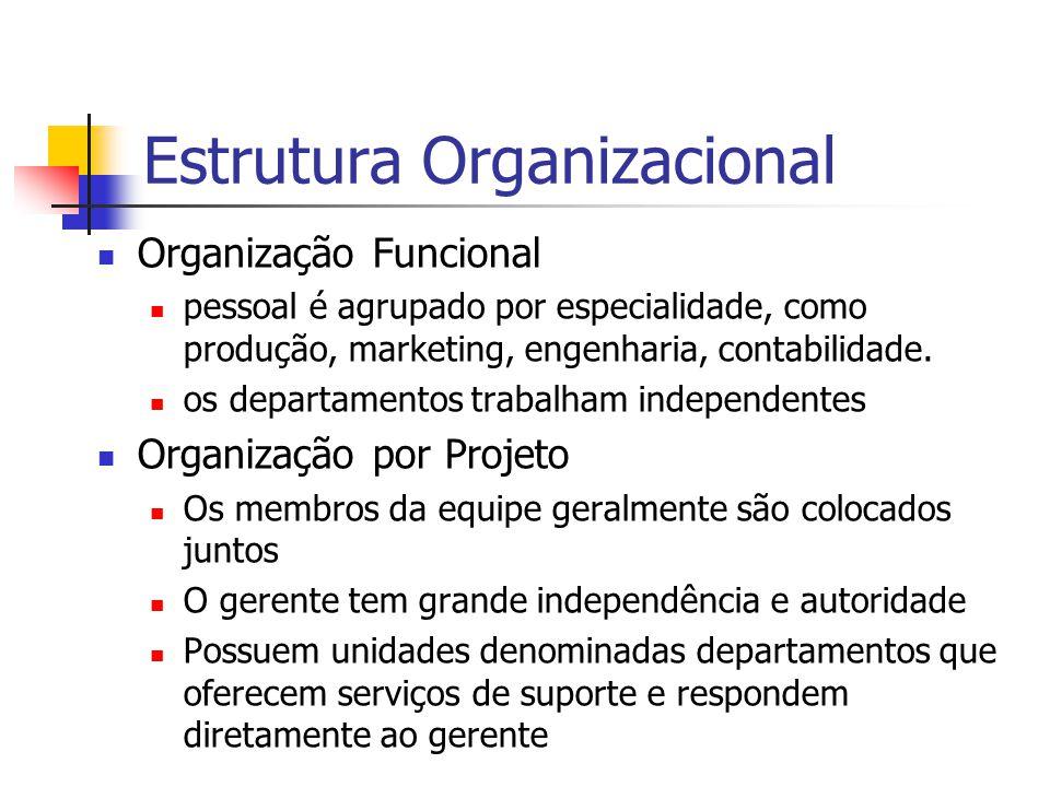 Organização Funcional pessoal é agrupado por especialidade, como produção, marketing, engenharia, contabilidade. os departamentos trabalham independen