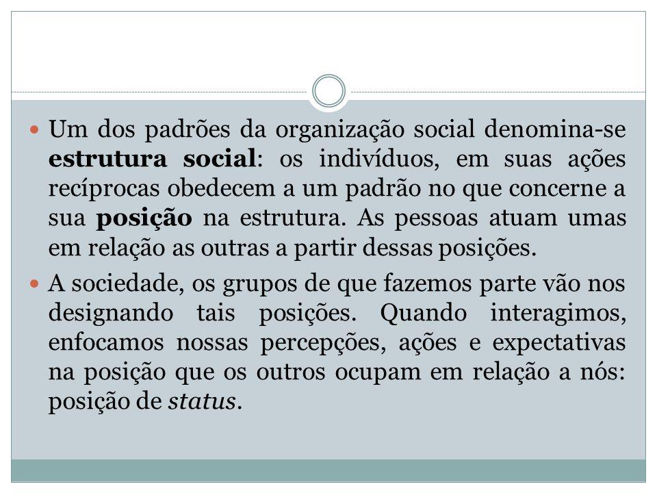 Um dos padrões da organização social denomina-se estrutura social: os indivíduos, em suas ações recíprocas obedecem a um padrão no que concerne a sua posição na estrutura.