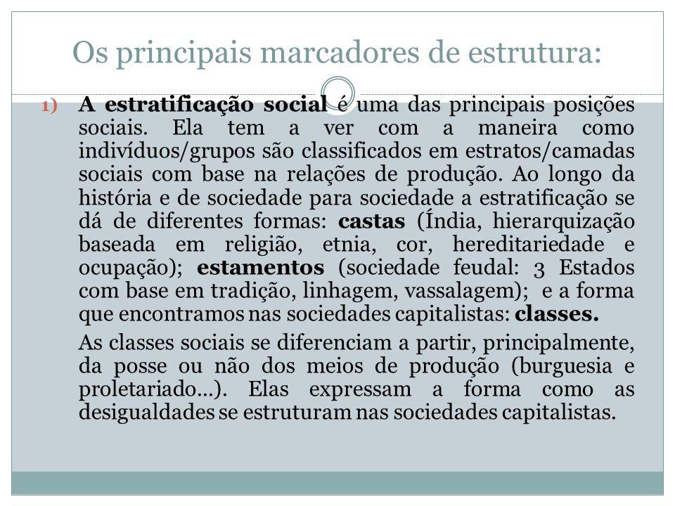 Os principais marcadores de estrutura: 1) A estratificação social é uma das principais posições sociais. Ela tem a ver com a maneira como indivíduos/g
