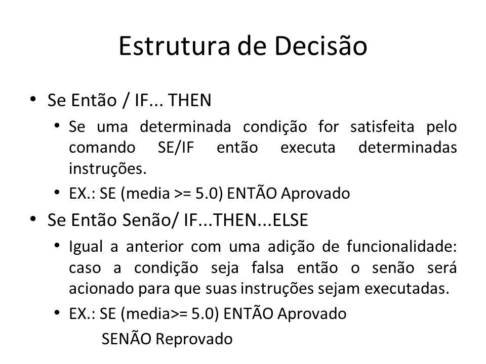 Estrutura de Decisão Se Então / IF...