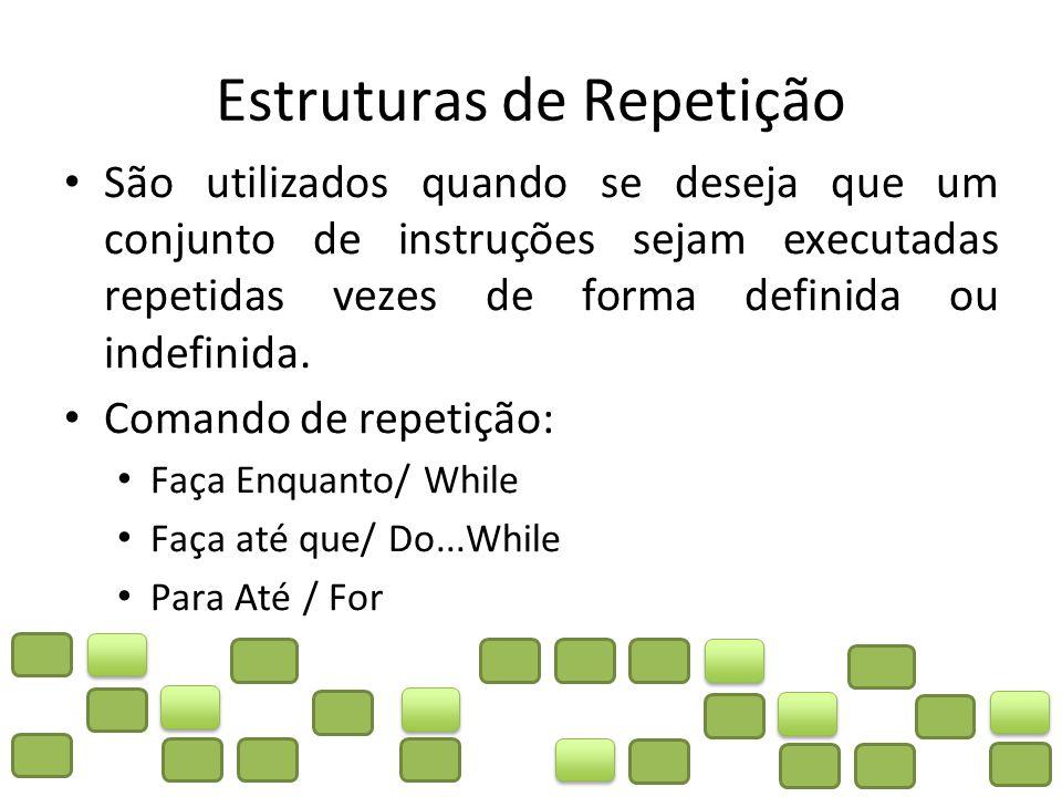 Estruturas de Repetição São utilizados quando se deseja que um conjunto de instruções sejam executadas repetidas vezes de forma definida ou indefinida.
