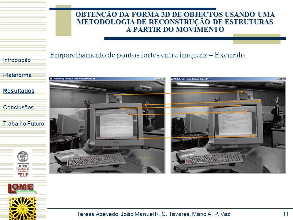 Teresa Azevedo, João Manuel R. S. Tavares, Mário A. P. Vaz11 OBTENÇÃO DA FORMA 3D DE OBJECTOS USANDO UMA METODOLOGIA DE RECONSTRUÇÃO DE ESTRUTURAS A P