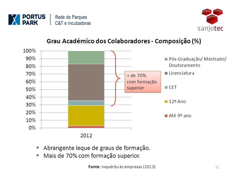 Fonte: Inquérito às empresas (2013) 12 + de 70% com formação superior + de 70% com formação superior  Abrangente leque de graus de formação.