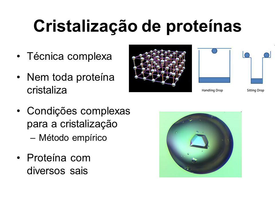 Cristalização de proteínas Técnica complexa Nem toda proteína cristaliza Condições complexas para a cristalização –Método empírico Proteína com diversos sais