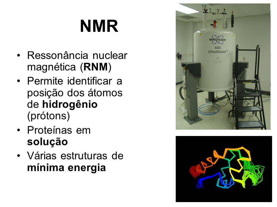 NMR Ressonância nuclear magnética (RNM) Permite identificar a posição dos átomos de hidrogênio (prótons) Proteínas em solução Várias estruturas de mínima energia